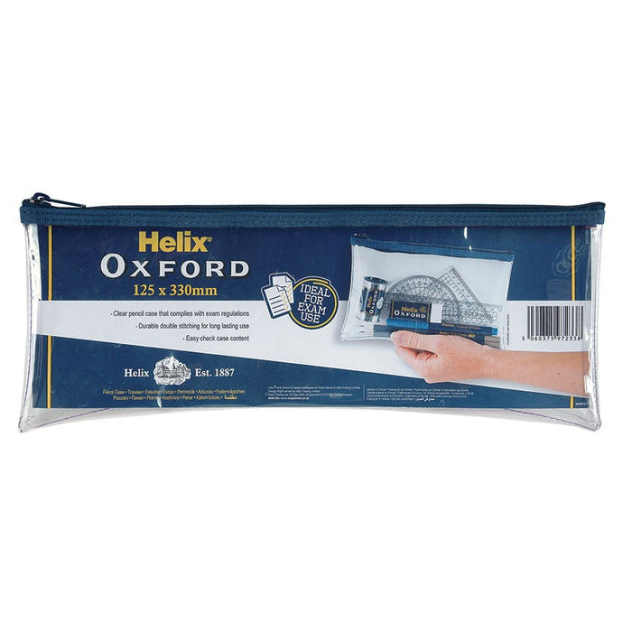 "Helix Oxford 13""x 5"" Clear Pencil Case"
