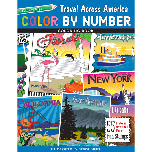 Color by Number Travel Across America Coloring Book by Debra Gabel