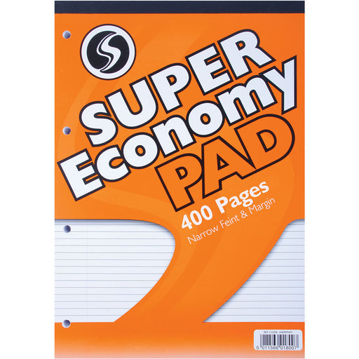 Economy Refill Pad A4 200 Sheets Narrow Feint & Margin