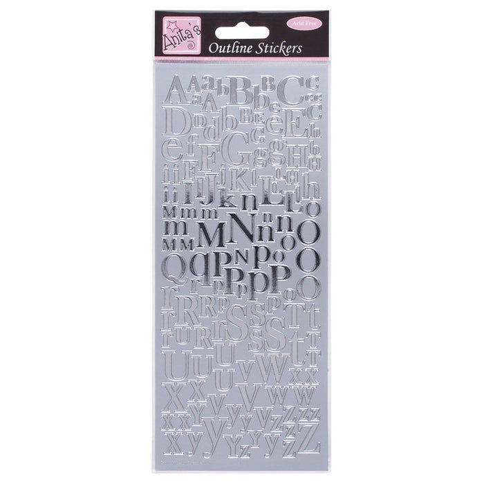 Outline Stickers - Mixed Serif Alphabets - Silver