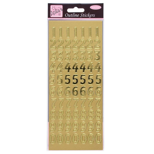 Outline Stickers - Large Numbers - Gold