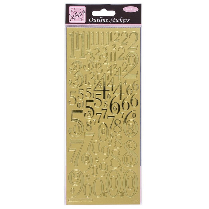 Outline Stickers - Mixed Numbers - Gold
