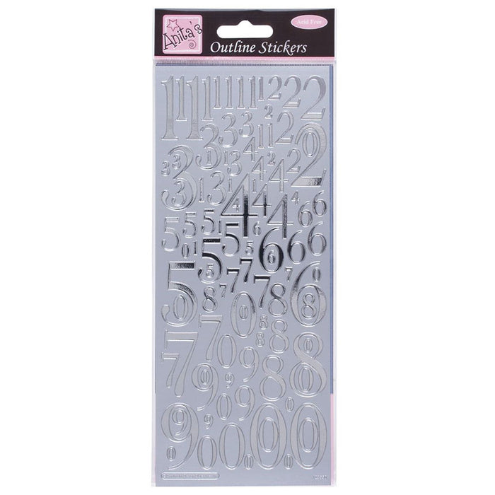 Outline Stickers - Mixed Numbers - Silver