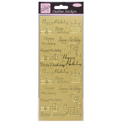 Outline Stickers - Happy Birthday Assorted - Gold
