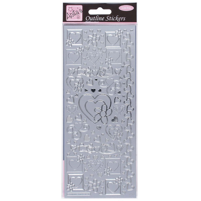 Outline Stickers - Hearts - Silver