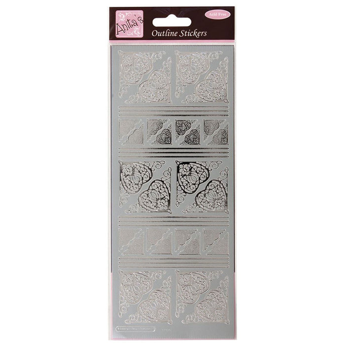 Outline Stickers - Celtic Heart Corners - Silver