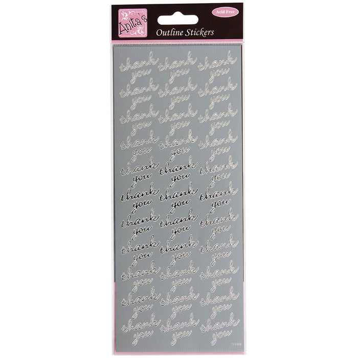 Outline Stickers - Thank You Repeated - Silver