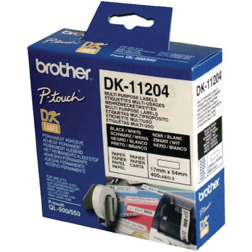 Brother Black on White Paper Multi Purpose Labels DK11204