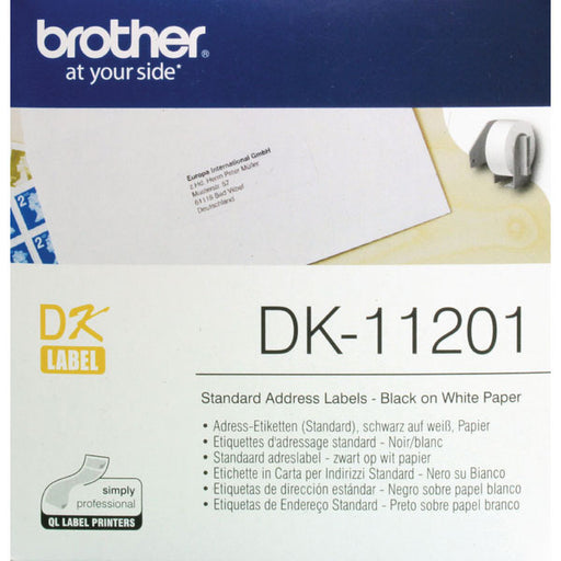 Brother Black on White Paper Standard Address Labels DK11201