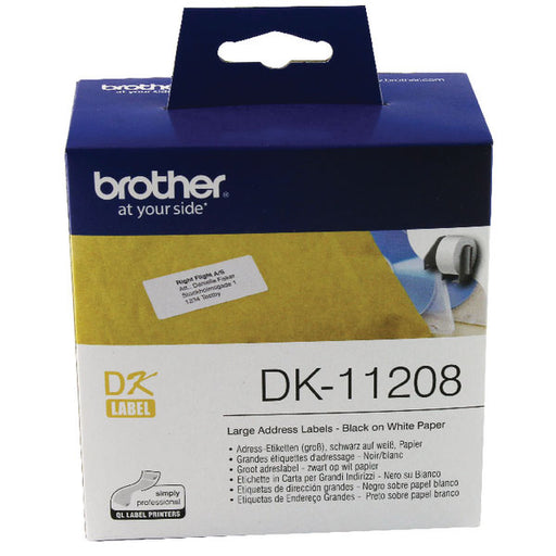 Brother Black on White Paper Large Address Labels DK11208