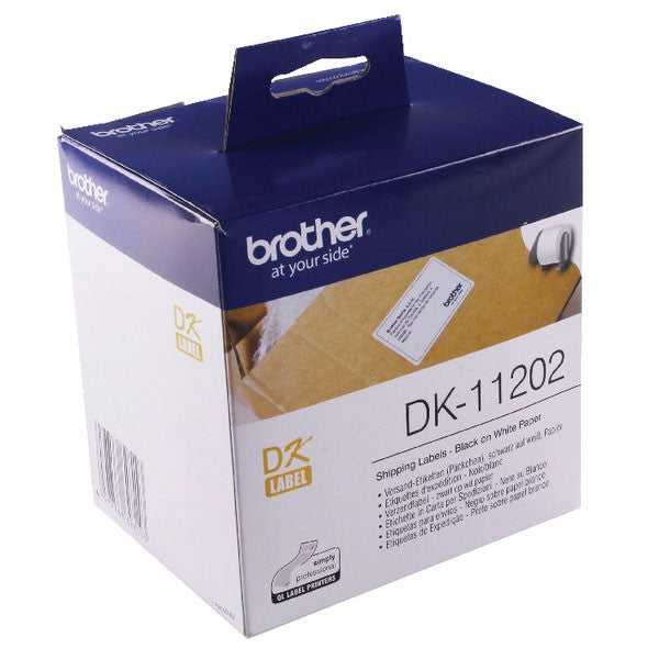Brother Black on White Paper Shipping Labels DK11202