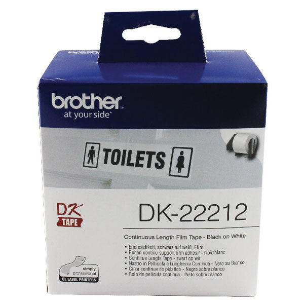 Brother Black on White Continuous Length Film Tape 62mm DK22212