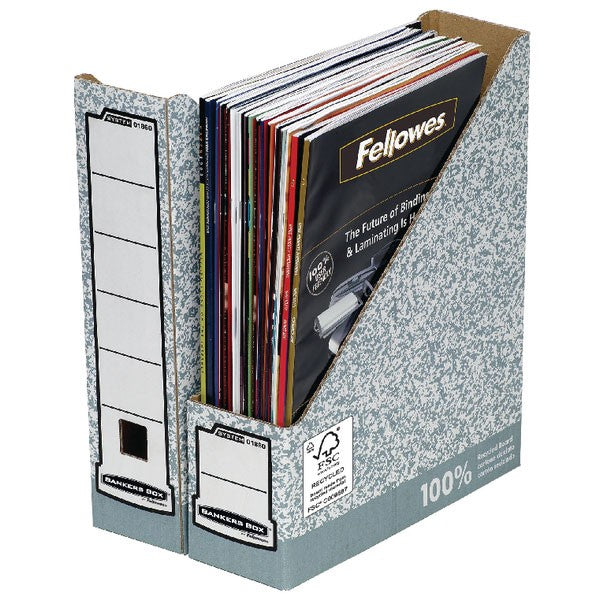 Fellowes Bankers Box Prem Magazine File Grey/White 186004