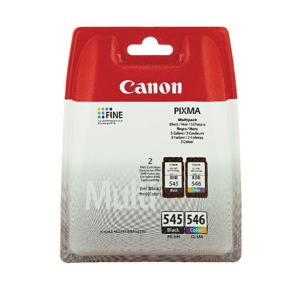 Canon PG-545/CL-546 CMYK Inkjet Cartridges (Pack of 2) 8287B005