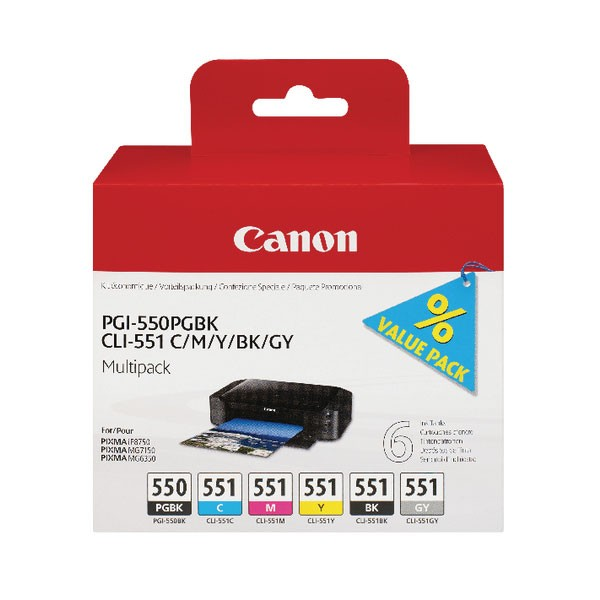 Canon PGI550 Black and Colour Multipack Cartridges 6496B005