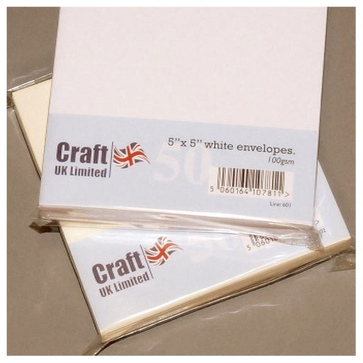 5x5 Envelopes 50 Pack White