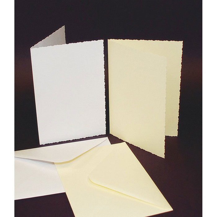 C6 Cards and Envelopes 50 Pack White Deckle