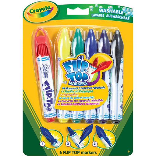 6 FLIP TOP WASHABLE MARKERS