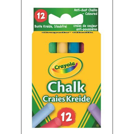 12 ANTI DUST COLOUR CHALKS