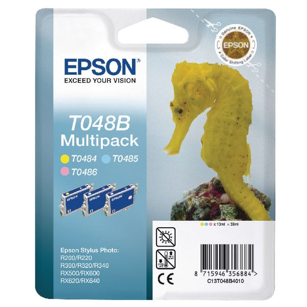 Epson T0487 Black/Cyan/Magenta/Yellow/Light Cyan/Light Magenta Inkjet Cartridges C13T04874010/T0487