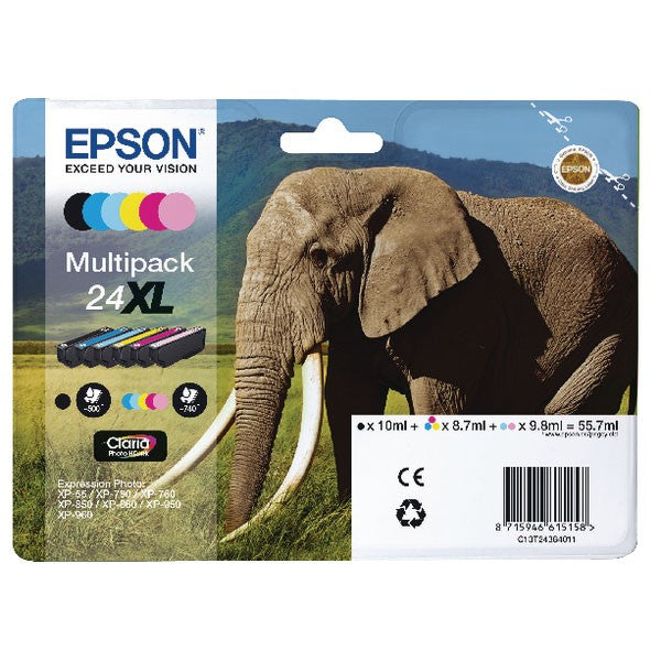 Epson 24XL 6-Colour Inkjet Cartridge High Yield Multipack C13T24384011