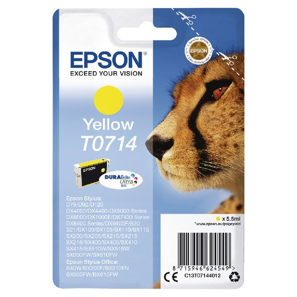 Epson T0714 Yellow Inkjet Cartridge (Capacity: 475 pages) C13T07144012