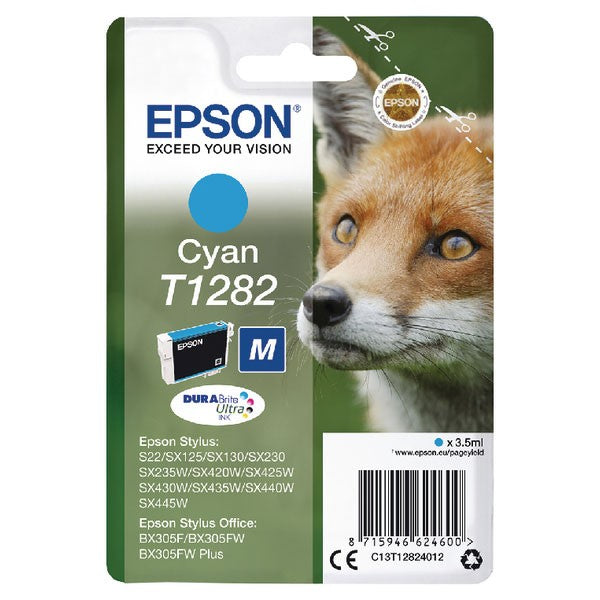 Epson T1282 Cyan Inkjet Cartridge C13T12824012