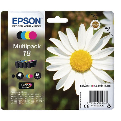 Epson 18 Black Cyan Magenta Yellow Ink Cartridge (Pack of 4) C13T18064012