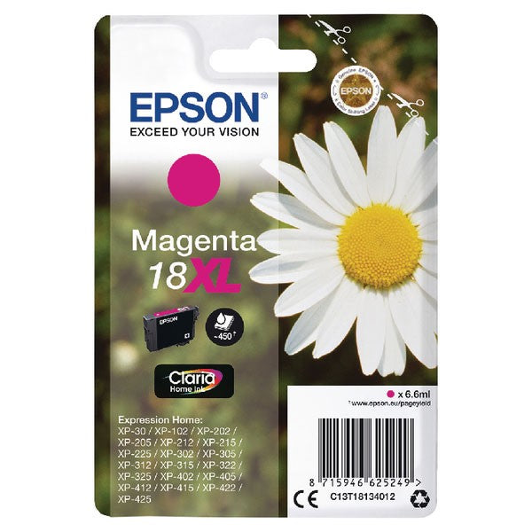 Epson 18XL Magenta Inkjet Cartridge (Capacity: 450 pages) C13T18134012
