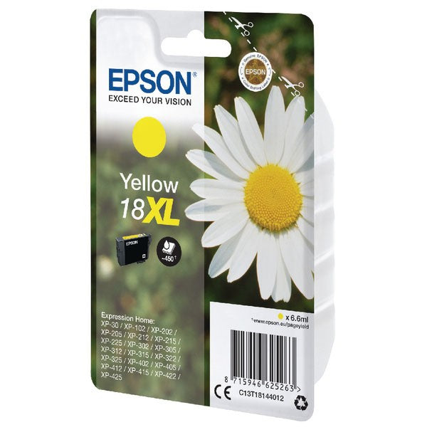 Epson 18XL Yellow Inkjet Cartridges (Capacity: 450 pages) C13T18144012