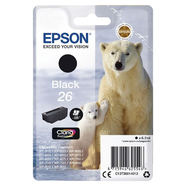 Epson 26 Black Inkjet Cartridge C13T26014012