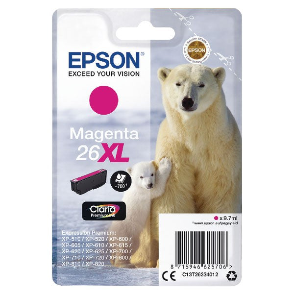 Epson 26XL Magenta Inkjet Cartridge (Capacity: 700 pages) C13T26334012