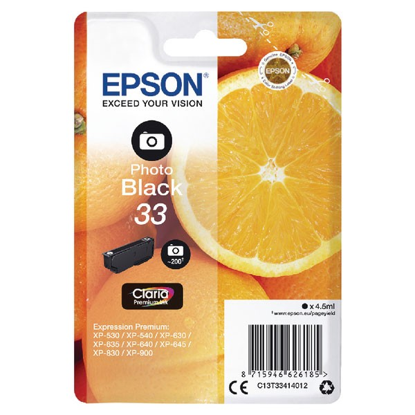 Epson 33 Photo Black Inkjet Cartridge C13T33414012
