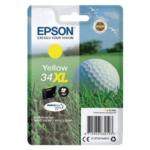 Epson Singlepack Yellow 34XL DURABrite Ultra Ink C13T34744010