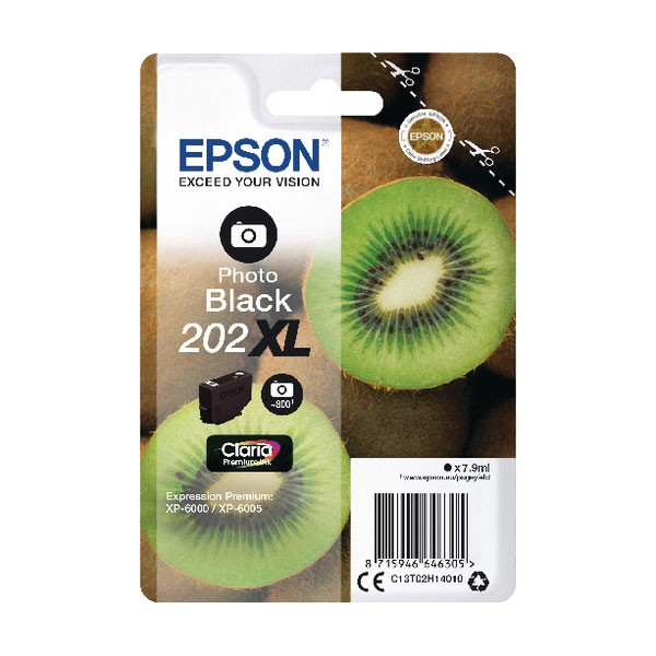 Epson 202XL Photo Black Inkjet Cartridge C13T02H14010