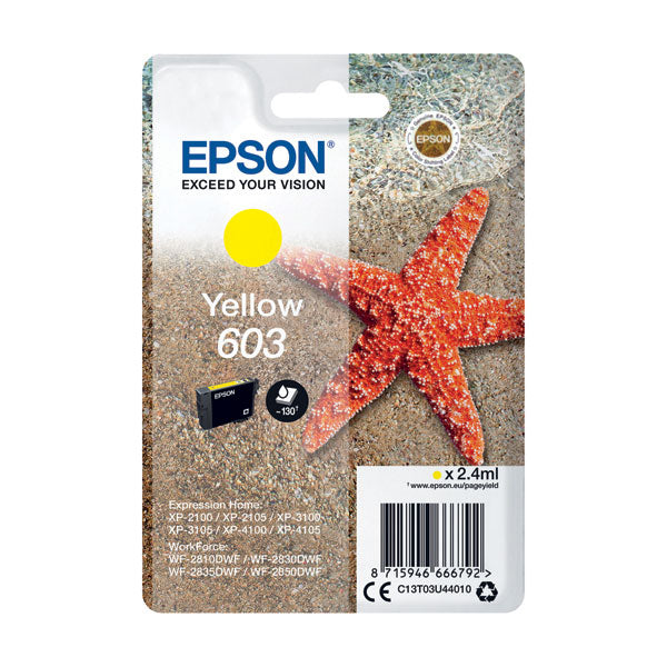 Epson Starfish 603 Yellow Ink Cartridge C13T03U44010