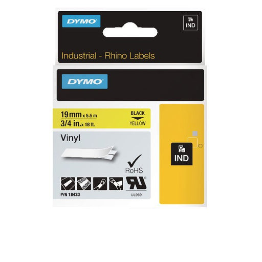 Dymo 18433 Rhino Vinyl Tape 19mm x 5.5m Black on Yellow S0718470
