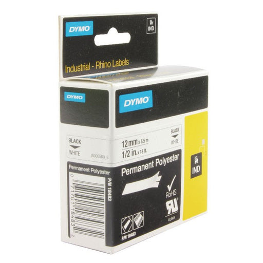 Dymo 18483 Rhino Polyester Tape 12mm x 5.5m White S0718210