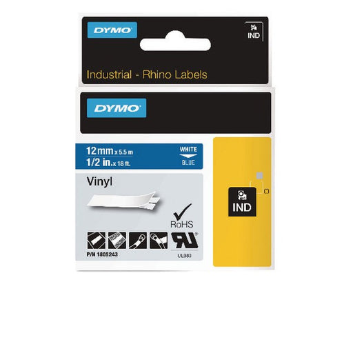 Dymo 18444 Rhino Black on White Label Printer Tape 12mm S0718600