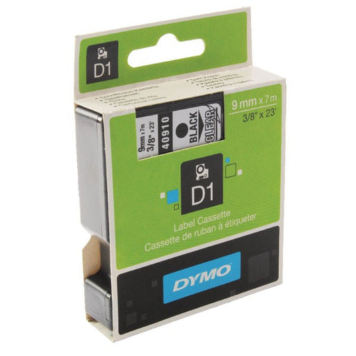 Dymo 40910 LabelMaker D1 Tape 9mm x 7m Black on Clear S0720670
