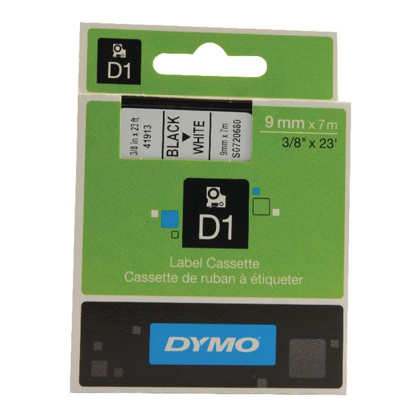 Dymo 40913 D1 LabelMaker Tape 9mm x 7m Black on White S0720680