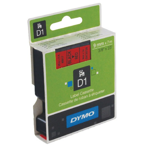 Dymo 40917 D1 LabelMaker Tape 9mm x 7m Black on Red S0720720