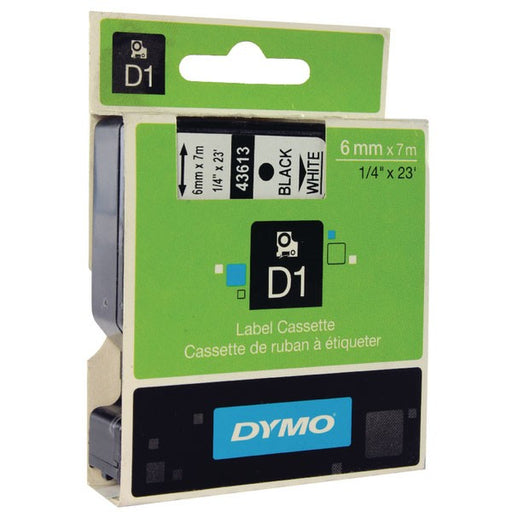 Dymo 43613 D1 LabelMaker Tape 6mm x 7m Black on White S0720780