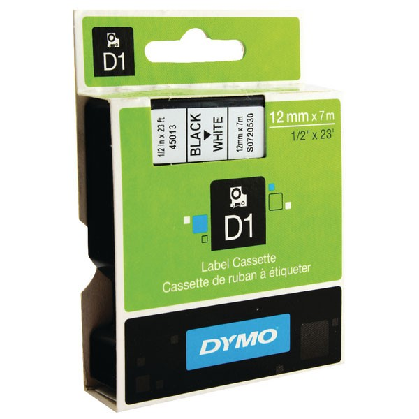 Dymo 45013 D1 LabelMaker Tape 12mm x 7m Black on White S0720530