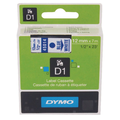 Dymo 45014 D1 LabelMaker Tape 12mm x 7m Blue on White S0720540