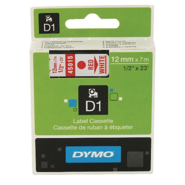 Dymo 45015 D1 LabelMaker Tape 12mm x 7m Red on White S0720550
