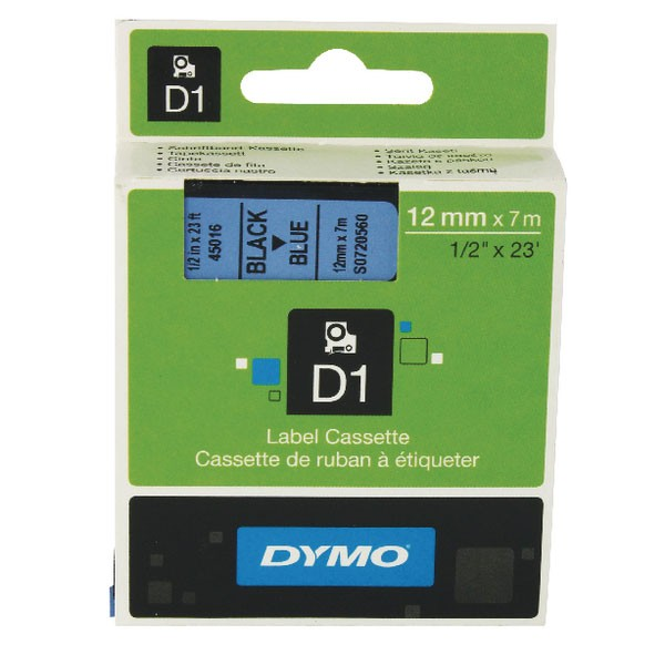 Dymo 45016 D1 LabelMaker Tape 12mm x 7m Black on Blue S0720560