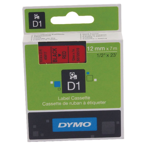 Dymo 45017 D1 LabelMaker Tape 12mm x 7m Black on Red S0720570