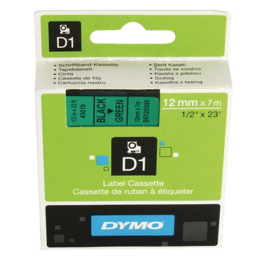 Dymo 45019 D1 LabelMaker Tape 12mm x 7m Black on Green S0720590