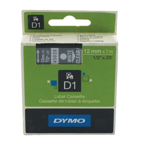 Dymo 45020 D1 LabelManager Tape 12mm x 7m White on Clear S0720600